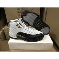 Air Jordan Retro 12 Chinese New Year 3M Reflect Men Basketball Shoes 12s Taxi White Black Gold Athletics Sneakers New With Shoes Box