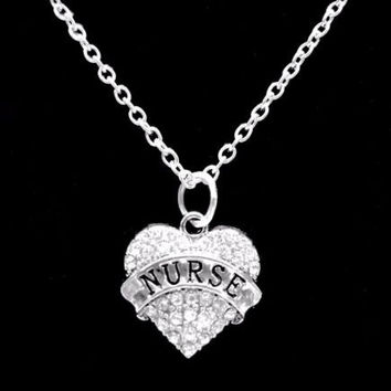 Crystal Nurse Heart Graduation Christmas Gift For RN LPN Nurses Charm Necklace