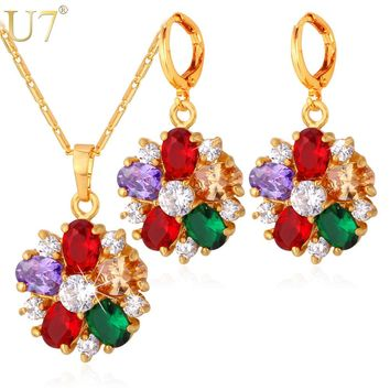 U7 Cubic Zirconia Indian Jewelry Sets For Women Gold Color Flower Colorful Crystal Earrings Necklace Set Women S680