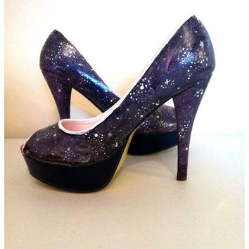 Handpainted Galaxy Outer Space heels - Nebula - NASA  High Heels - stars - galaxy shoes.