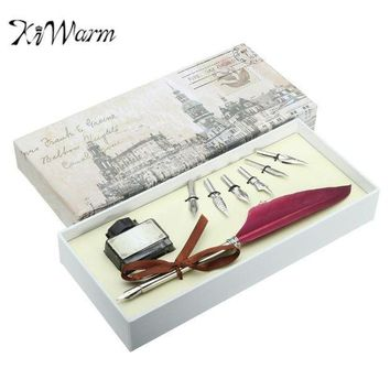 Kiwarm Unique Red Vintage Quill Feather Dip Pen Set Writing Ink Gift Box With 5 Nib Quill Pen Fountain Pen Wedding Gift Art Set