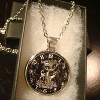 Silver Cat Over Clock Pendant Necklace (2254)