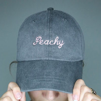 peachy uh huh honey valdesigns washed out grey baseball cap with light pink embroidery baseball cap 100% cotton instagram tumblr pinterest