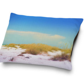 White Dunes - Pet Bed, Nantucket Style Beach Coastal Pet Bedding, Sand Dunes and Sea Oats Cottage Chic Pet Accessory. In 18x28 30x40 40x50