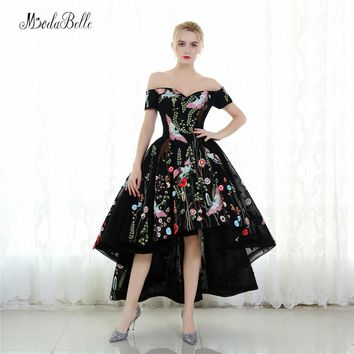 modabelle Arabic Style Short Front Long Back Evening Dresses Black Formal Gown Flowers High Low Dress Prom Ball Gown 2017