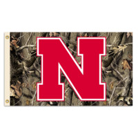 NCAA Nebraska Huskers 3 Ft. X 5 Ft. Flag W/Grommets - Realtree Camo Background