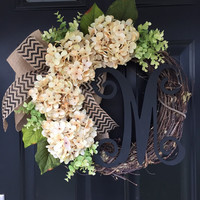 Wreath - Everyday Wreath - Cream Hydrangea Burlap Chevron Wreath - Monogrammed Wreath - Housewarming Gift - Wreaths - Gift - Spring Wreath