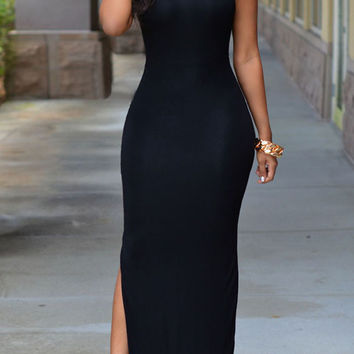 Black Sleeveless V- Back Bodycon Maxi Dress