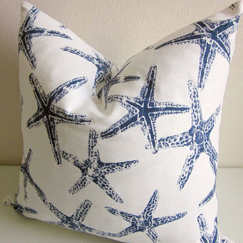 Starfish Pillow Cover, Navy White Pillow, Sea Life Pillow, Beach Pillow Cover, Nautical Pillow Cover, Treasury List Decorative Throw Pillow