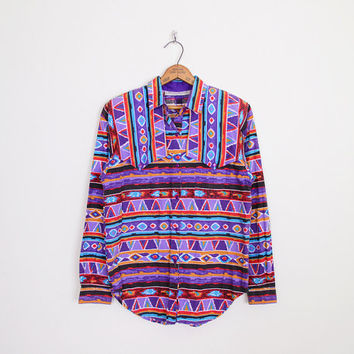 Purple Southwestern Shirt Southwest Shirt South Western Shirt Tribal Shirt Tribal Print Shirt Oversize Shirt 80s 90s Shirt M Medium L Large