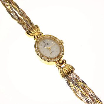 Vintage Sarah Coventry Crystal Tricolor Bracelet Watch
