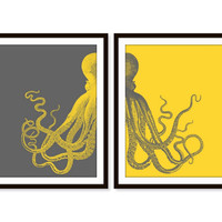 Octopus Art Print Beach Nautical Print Beach House Sea Ocean Print Set of Two - 5x7, 8X10, 11x14 Home Decor Wall Decor