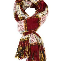 Fuzzy Plaid Fringe Scarf by Charlotte Russe - Red Combo