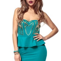 Teal Peplum Body Con Dress
