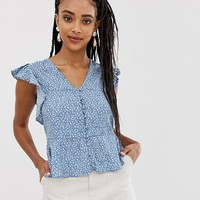 New Look button through blouse in blue ditsy print | ASOS