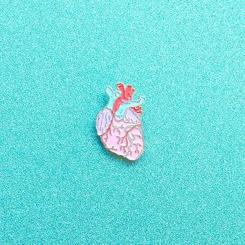Anatomical Heart Enamel Pin - Anatomical Pastel Heart Illustration - Lapel Pin Pastel Heart Illustration - Pretty Anatomy Drawing Enamel Pin