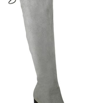 GREY SUEDE MATERIAL TOP LACE CHUNKY HEEL KNEE HIGH BOOTS