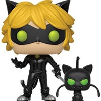 Funko Pop and Buddy: Miraculous-Cat Noir with Plagg Collectible Figure, Multicolor