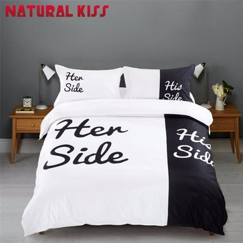2017 New Black&white Her Side His Side Bedding sets QueenSize Double Bed 4pcs Bed Sheet Pillowcase Linen Couples Duvet Cover Set