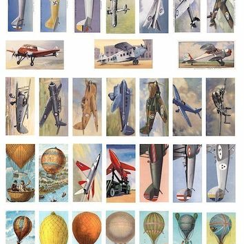 VINTAGE airplane jets hot air balloon aviation clip art collage sheet 1  x 2 INCH domino size