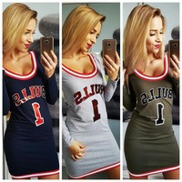Bulls long sleeve bodycon dress