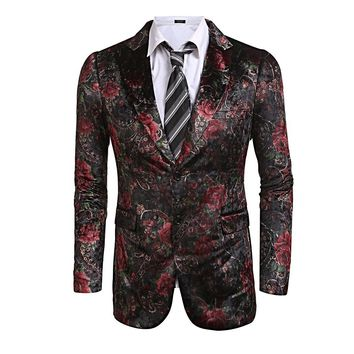 Casual Lapel Floral Print Slim Fit 2-Button Blazer Jacket Free Shipping