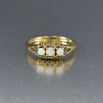 English Vintage Gold Band Three Stone Opal Ring