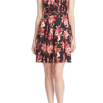 'shadow buds' print pleated silk dress