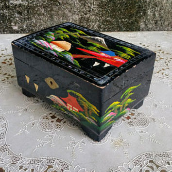 Japanese Black Lacquer Jewelry Box Mount Fuji