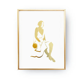 Japanese Silhouette, Modern Wall Art, Wardrobe Art Real Gold Foil Print, Fashion Poster, Bedroom Decor, Illustration Poster, Home Decor