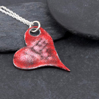 Gothic enameled hearts series - Graffiti heart pendant, red and pink with black lines, handmade, reversible, kiln fired enamel, unique