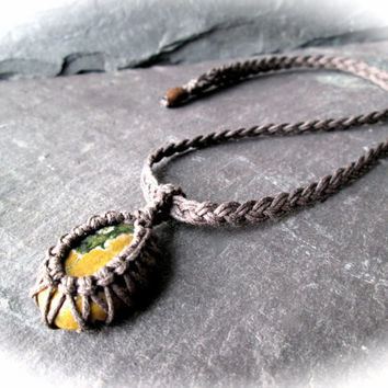 Jasper Necklace, Micro Macramé Gemstone Pendant on Braided Cotton, Metal Free Necklace, Metaphysical Healing Necklace, Unisex Shaman Wicca