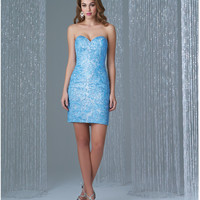 Preorder - Madison James 16-330 Turquoise & Nude Beaded Strapless Mini Dress 2015 Homecoming Dresses