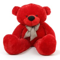 Bitsy Cuddles Soft and Huggable Jumbo Red Teddy Bear 72in - Giant Teddy Bear!