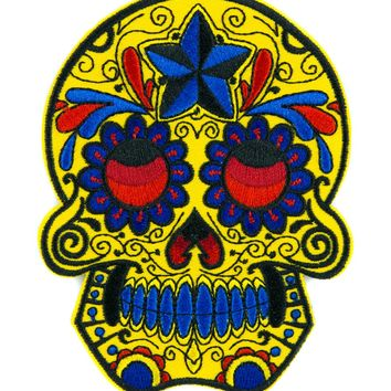 Day of the Dead Yellow Sugar Skull Patch Iron on Applique Dia De Los Muertos Clothing