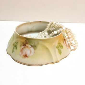 Antique German Bone China Dish, R.S. Germany, Vanity Dish, Jewelry Dish,  Roses, Pastel