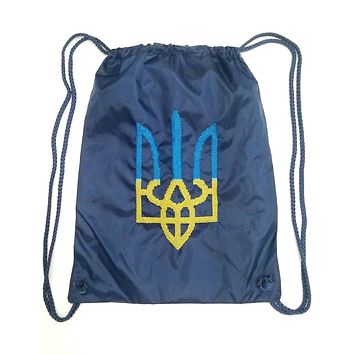 "Embroidered drawstring backpack ""Tryzub"" navy"
