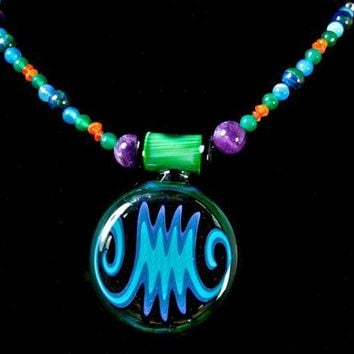 Wig Wag Blue Pendant Glass by Who