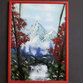 mountain home decor,spray paint art,mountain wall art,mountain gift,mountain decor,framed artwork,mountain poster,mountain landscape artwork