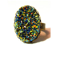 Druzy Blue Gold Ring reflections