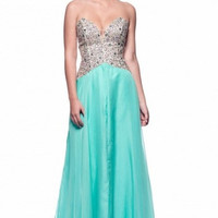 Kari Chang KC18 Aqua Blue Jeweled A-line Chiffon Prom Dress