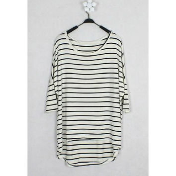 White Striped 3/4 Sleeve Shirt