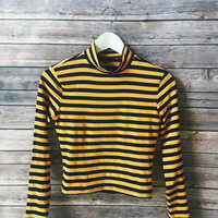 Mustard Striped Mock Neck
