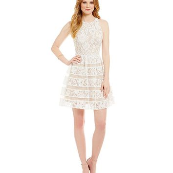 Aidan Aidan Mattox Lace Tier Dress | Dillards