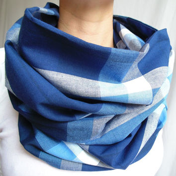 Blue Plaid Infinity Scarf, Tartan, Denim Blue,Indigo,Navy, Back to School,Womens Scarf, Oversized Scarf, Gift, Extra Long, Fall Winter Scarf