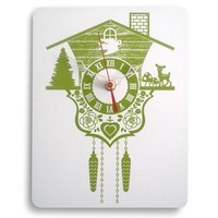 Wood Panel  Wall Hanging Clock  Cuckoo Clock  Lime by decoylab
