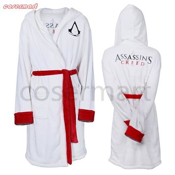2017 Movie Assassins Creed Bathrobes White Hooded Cosplay Michael Fassbender Costume Halloween Party Prop