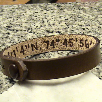 Custom Leather  5/8 inch - Secret Latitude / Longitude - Wristband with Initials at snap