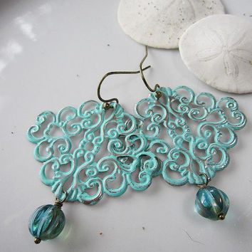Turquoise Filigree Earrings with Seablue Melon Beads - Spring Wedding