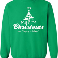It's Merry Christmas Not Xmas Crewneck happy holidays Clothing Sweater For Unisex Style christian Funny Sweatshirt Crew neck Jumper x ML-126